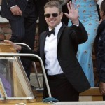 Actor Matt Damon leaves the Cipriani hotel to go to the wedding. (Andrew Medichini/AP)