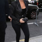 KRIS JENNER The Kardashian matriarch steps out in head-to-toe black en route to the Balmain show. Marc Piasecki/GC Images
