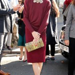 OLIVIA PALERMO And she's back! Olivia resurfaces at PFW wearing a high-necked maroon sweater and coordinating pencil skirt. Pierre Suu/GC Images
