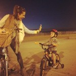 She posted...'Proud of my little buddy #firsttime #bikeride #somuchfun #calilife' (Photo: Twitter)