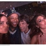Models Alicia Rountree and Angela Martini snapped a selfie with Russell Simmons and Mick Jagger at the bash