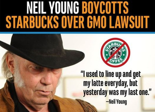 Neil Young exposes Starbucks for supporting evil company Monsanto (Photo: Tumblr/Courtesy)
