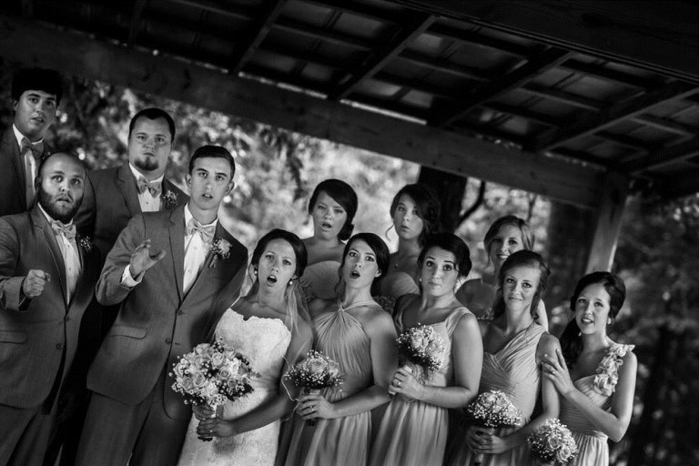 Horrified bridal party as the photographer goes down (Photo: ChaseRichardson)