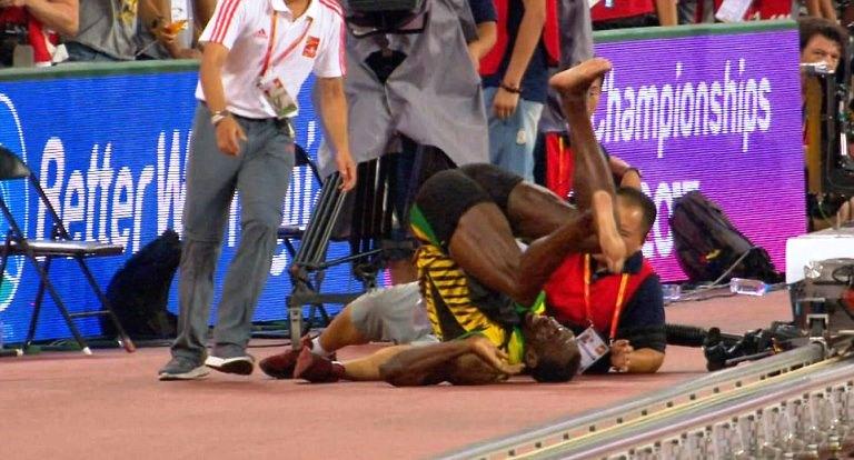 Usain Bolt gets beaten up by a Segway in Beijing (Photo: Getty)