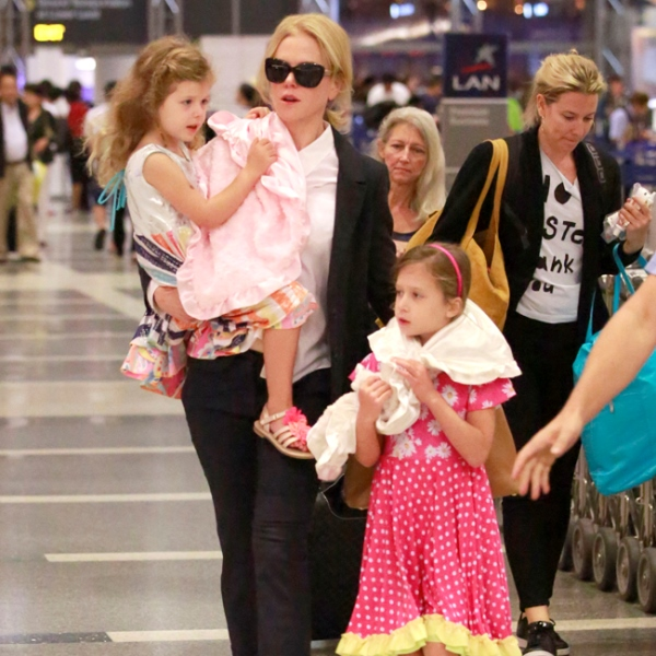 Nicole Kidman with daughters Sunday Rose 7 and Faith 4 (Photo: BangShowBiz)