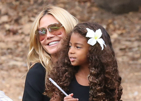 Who cares about being a 10, smiling causes lines says Klum with daughter Lou (Photo: Imageinc)