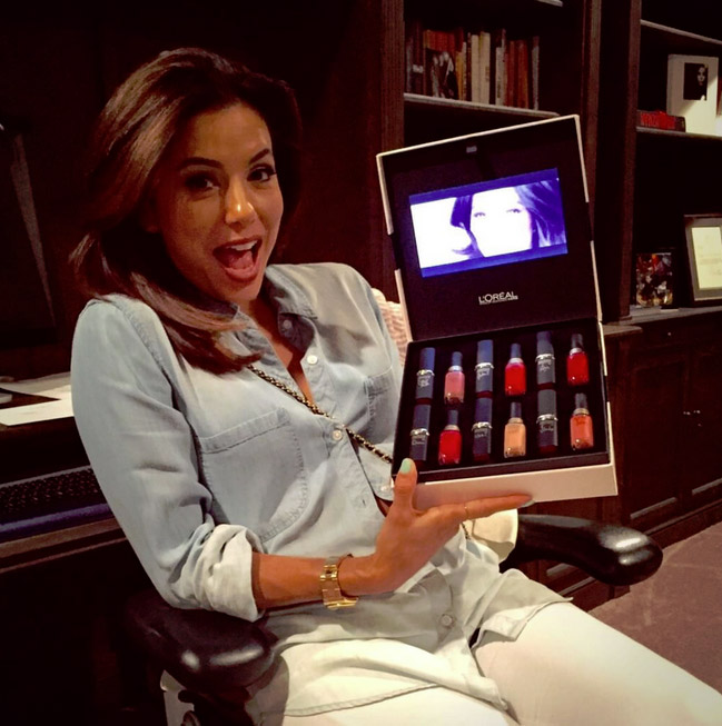 """Thx for my #pinkobsession box @lorealparisofficial!! The film plays in the box!"" states Longoria about one of her many businesses (Photo: Instagram)"