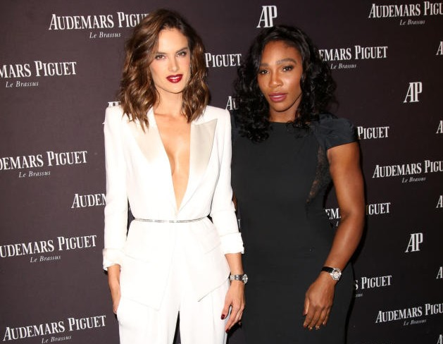 Brazilian supermodel Alessandra Ambrosio and tennis World No.1 Serena Williams wore beautifully contrasting outfits to the glamorous grand opening. (Photo: Courtesy / Audemars Piguet)