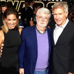 Harrison Ford and TV personality Liz Hernandez pose with Star Wars creator and overlord to all pop culture nerds, George Lucas. (Photo: Instagram, hugogloss)
