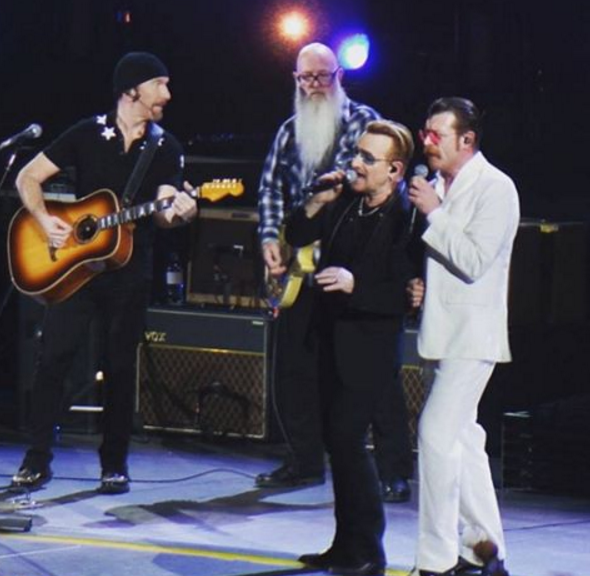 Rock and roll's never back down attitude lives on as U2 shares the stage with the Eagles of Death Metal in Paris. (Photo: Instagram, @eodmofficial)