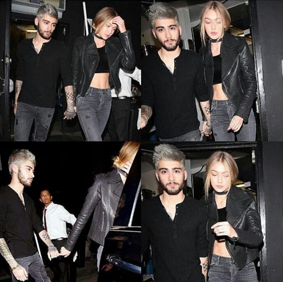 Heartthrob Zayn Malik and Gigi Hadid seen leaving The Nice Guy in West Hollywood after dinner date. (Photo: Instagram, @foreverzigi)