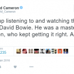 UK Prime Minister David Cameron revealed he was a fan of the late David Bowie in a touching tribute. (Photo: Twitter, @David_Cameron)