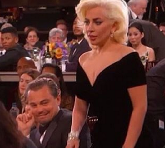 BEST: When Leonardo DiCaprio made this face when Lady Gaga brushed past him on her way to the stage. (Photo: Instagram, @leodicaprioslover)