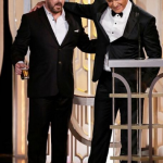 BEST: Ricky Gervais and Mel Gibson share a painfully awkward moment after Gibson had to endure more of Ricky's ruthless riffing on his past blunders. Possibly a highlight, actually. (Photo: Instagram, @fusetv)