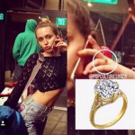 Miley Cyrus was recently spotted wearing the engagement ring Liam gave her in 2012. (Photo: Instagram, @mileycyrusliamhemsworth)