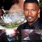 Jamie Foxx emerged from his home to save a driver from his overturned car by the side of the road. (Photo: Instagram, @gossipstarr)