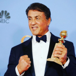 BEST: Sylvester Stallone proves he is the real Rocky and gets a standing ovation for his Best Supporting Actor in a Motion Picture award for Creed. (Photo: Instagram, @klaudiarosenkranz)
