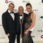 "The CEO of ""Newgotiation"" and Harvard professor Yann Duzert poses with Quincy Jones and beauty dermatologist of the stars Dr. Valeria Vakarchuk. (Photo: JETSS)"
