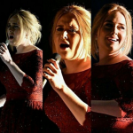 Adele looked distracted by her onstage monitors during her Grammy Awards performance on Monday. (Photo: Instagram, @famososenlalupard)