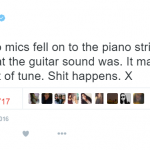 The soulful singer said the piano's microphones fell onto its strings and made it sound out of tune. (Photo: Twitter, @Adele)