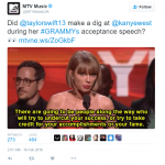 MTV UK were either playing dumb or being very slow on the uptake while Taylor threw the shade hard. (Photo: Twitter, @MTVMusicUK)