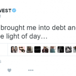 Kanye West said on Twitter that chasing his dreams has landed him in massive debt. (Photo: Twitter, @kanyewest)