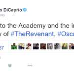 The man of the hour himself kept things classy with tweet. (Photo: Twitter, @LeoDiCaprio)