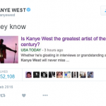 If it was a hacker, the imposter did a decent job mimicking the rapper's usual boasting. (Photo: Twitter, @kanyewest)