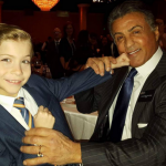 Hanging with Hollywood heavyweight Sylvester Stallone at the Oscars lunch. (Photo: Instagram, @jacobtremblay)