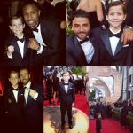 Mixing it up with Michael B. Jordan, Chris Evans and Oscar Isaacs at the Golden Globes. (Photo: Instagram, @jacobtremblay)