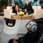 Ellen DeGeneres presented Star Wars superfan Jacob with some gear for his plane ride home. (Photo: Instagram, @jacobtremblay)