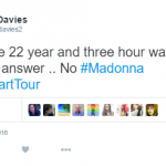 Madonna fans have reacted angrily to the diva's delayed appearance in Brisbane, Australia. (Photo: Twitter, @Adam_Davies2)