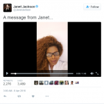 Janet was visibly overjoyed while filming her announcement for her Twitter followers. (Photo: Twitter, @JanetJackson)