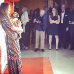 Drew Barrymore was all smiles as she cuddled with cute dogs at the charity event in NY. (Photo: Instagram, @brownlindsey)