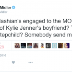 Bette Midler has taken a dig at the odd connections in the Kardashian/Jenner family tree. (Photo: Twitter, @BetteMidler)