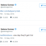 Alleged cheating culprit Selena also chimed in to show support for her gal pal Katy Perry's response to the rumors. (Photo: Twitter, @selenagomez)