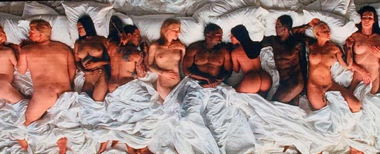 "The ""stars"" in bed with the couple include Taylor Swift, Chris Brown, Amber Rose and Caitlyn Jenner. (Photo: Instagram, @styledbyhrush)"