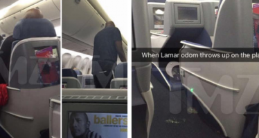 Drunk Lamar Odom vomits on flight