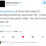 …a complicated issue she initially was not even remotely attempting to comment on. (Photo: Twitter, @selenagomez)