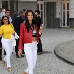Adriana Lima outside the Copacabana Palace hotel on the famous Copacabana Beach. (Photo: AgNews)