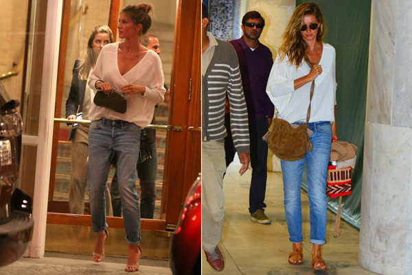 Gisele Bündchen apparently has no problem taking the same outfit from a night out to the day after, but when it looks this good who can blame her? (Photo: AgNews)