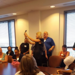 The singer was a real trooper as fellow would-be jurors swarmed to take selfies with her. (Photo: Twitter, @TracysActivism)