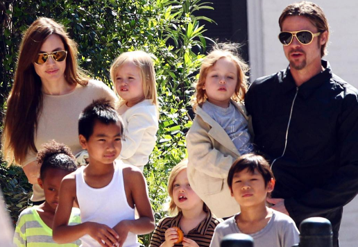 Brad Pitt will reportedly fight for joint custody of Maddox (15), Pax (12), Zahara (11), Shiloh (10) and eight-year-old twins Knox and Vivienne. (Photo: Instagram, @brangelinanews)
