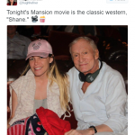 The Hef also posted a picture of himself smiling and holding his 30-year-old wife. (Photo: Twitter, @hughhefner)