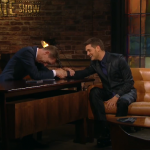 Those dreams would be crushed if his fans saw his lovely wife. (Screengrab: The Late Late Show)