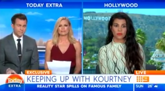 A live TV interview with Kourtney Kardashian turned super awkward! (Photo: Screengrab, Today Extra)