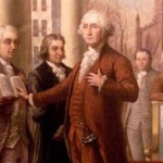 No, he's not checking if he forgot his notes. George Washington, the first US President, portrayed giving the Oath of Office. (Photo: Archive)