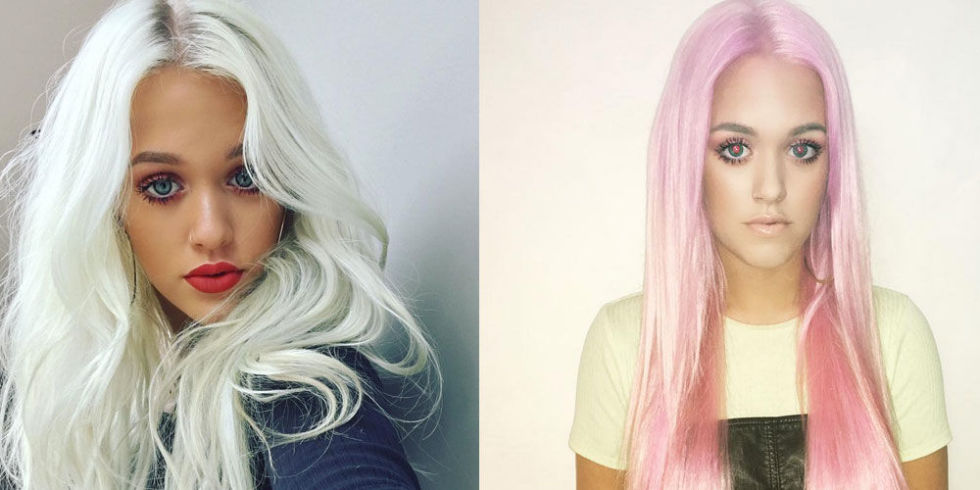 Hairstyles are a popular makeover for celebs. Here's model Lottie Tomlinson's new dash of pink (with red eyes). (Photo: Flickr/Reproduction)