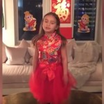 5 year-old Arabella performs in her Chinese New Year outfit. (Photo: Weibo)