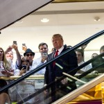 Donald and Melania Trump make their way down the fabled escalator in June 2015. (Photo: Twitter)